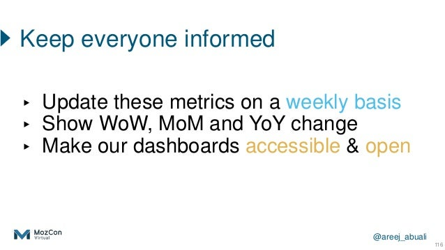 @areej_abuali ▸ Update these metrics on a weekly basis ▸ Show WoW, MoM and YoY change ▸ Make our dashboards accessible & o...