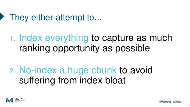 @areej_abuali 1. Index everything to capture as much ranking opportunity as possible 2. No-index a huge chunk to avoid suf...