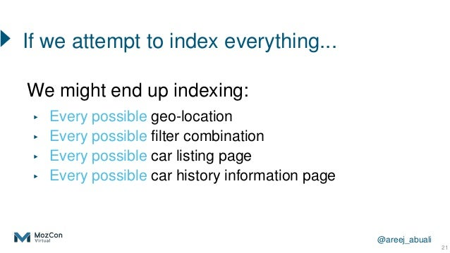 @areej_abuali 21 We might end up indexing: ▸ Every possible geo-location ▸ Every possible filter combination ▸ Every possi...