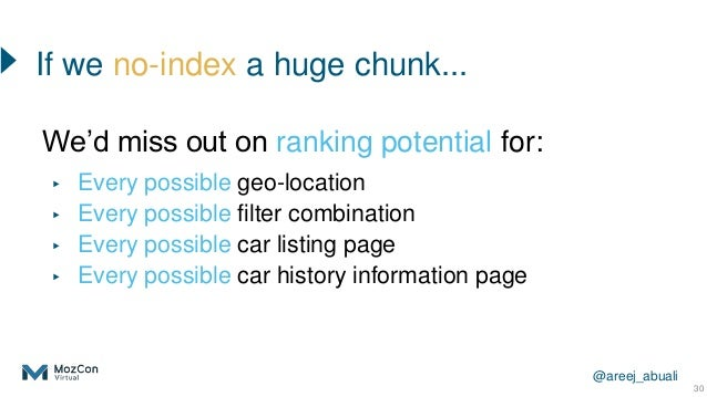 @areej_abuali 30 We'd miss out on ranking potential for: ▸ Every possible geo-location ▸ Every possible filter combination...