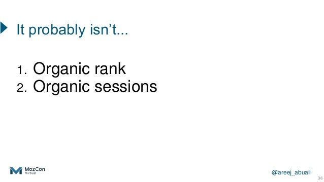@areej_abuali 1. Organic rank 2. Organic sessions 36 It probably isn't...