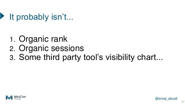 @areej_abuali 1. Organic rank 2. Organic sessions 3. Some third party tool's visibility chart... 37 It probably isn't...