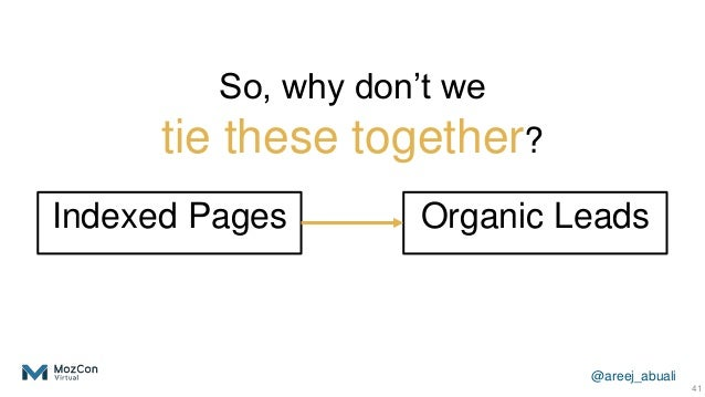 @areej_abuali Indexed Pages 41 Organic Leads So, why don't we tie these together?