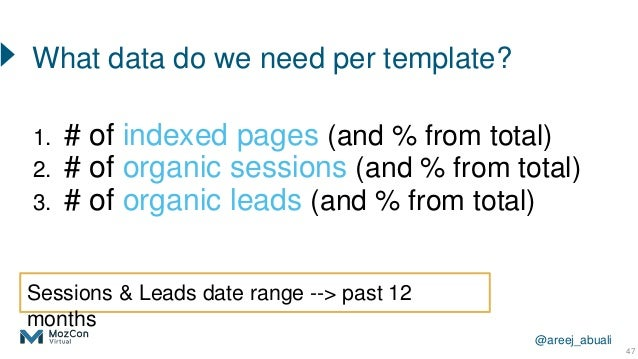 @areej_abuali 1. # of indexed pages (and % from total) 2. # of organic sessions (and % from total) 3. # of organic leads (...