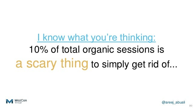 @areej_abuali I know what you're thinking: 10% of total organic sessions is a scary thing to simply get rid of... 80