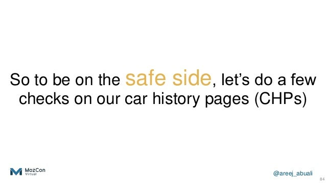 @areej_abuali So to be on the safe side, let's do a few checks on our car history pages (CHPs) 84