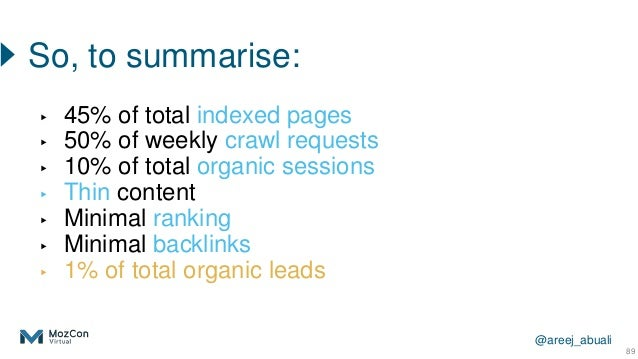 @areej_abuali ▸ 45% of total indexed pages ▸ 50% of weekly crawl requests ▸ 10% of total organic sessions ▸ Thin content ▸...