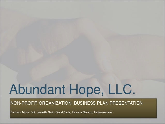 Abundant Hope, LLC. NON-PROFIT ORGANIZATION: BUSINESS PLAN PRESENTATION Partners: Nicole Fulk, Jeanette Sario, David Davis...