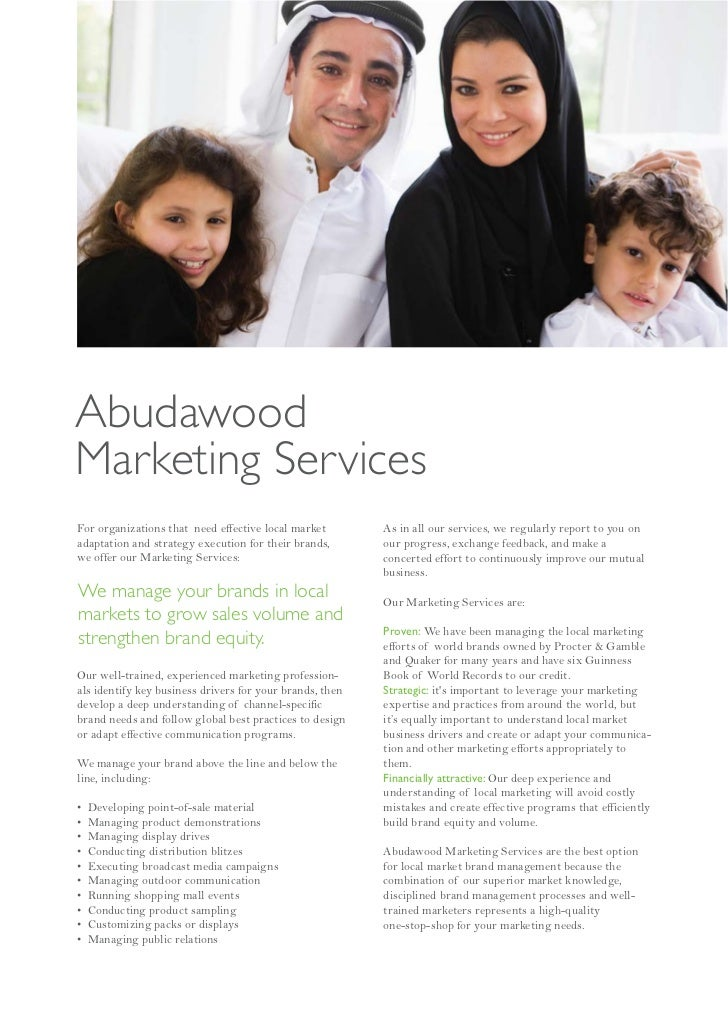 AbudawoodMarketing ServicesFor organizations that need effective local market        As in all our services, we regularly ...