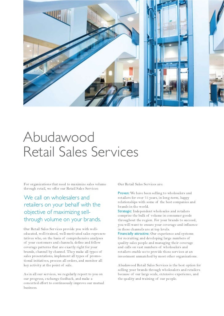 AbudawoodRetail Sales ServicesFor organizations that need to maximize sales volume      Our Retail Sales Services are:thro...