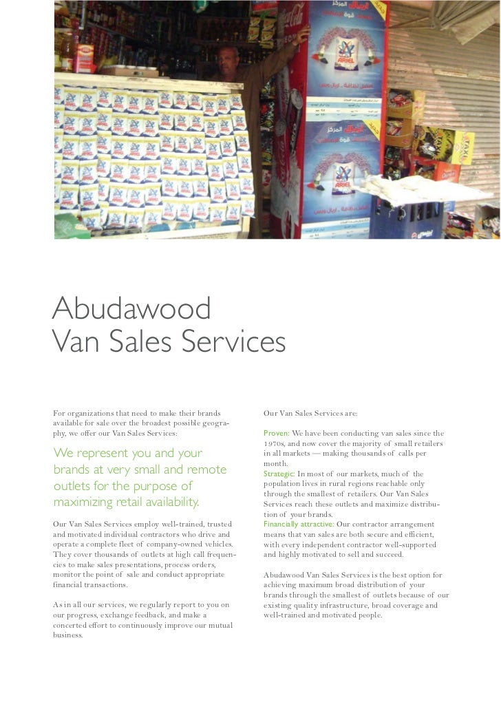 AbudawoodVan Sales ServicesFor organizations that need to make their brands        Our Van Sales Services are:available fo...