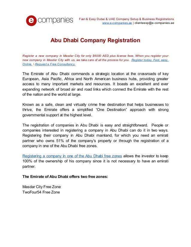 Abu dhabi company registration