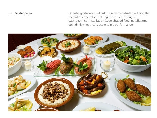 Oriental gastronomical culture is demonstrated withing the format of conceptual setting the tables, through gastronomical ...