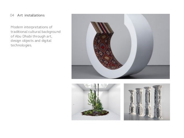 Modern interpretations of traditional cultural background of Abu Dhabi through art, design objects and digital technologie...