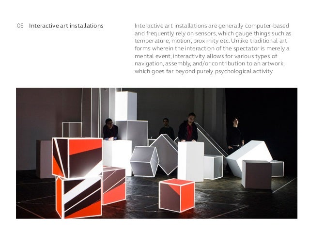 Interactive art installations are generally computer-based and frequently rely on sensors, which gauge things such as temp...