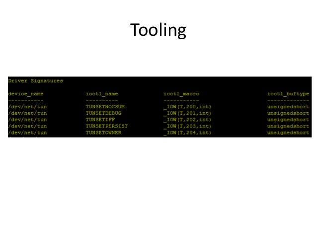 Tooling • Will make it available after the talk – Ping me if you'd like it sooner