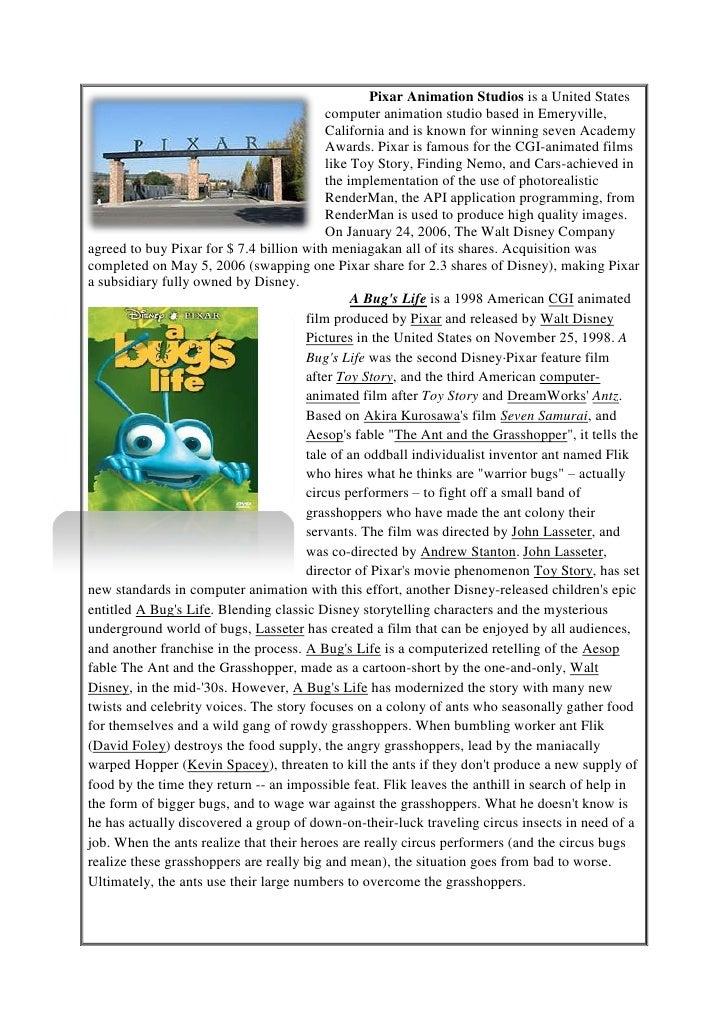 Pixar Animation Studios is a United States                                           computer animation studio based in Em...