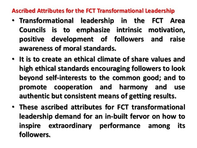TRANSFORMATIONAL LEADERSHIP IN THE FCT AREA COUNCILS: HOW