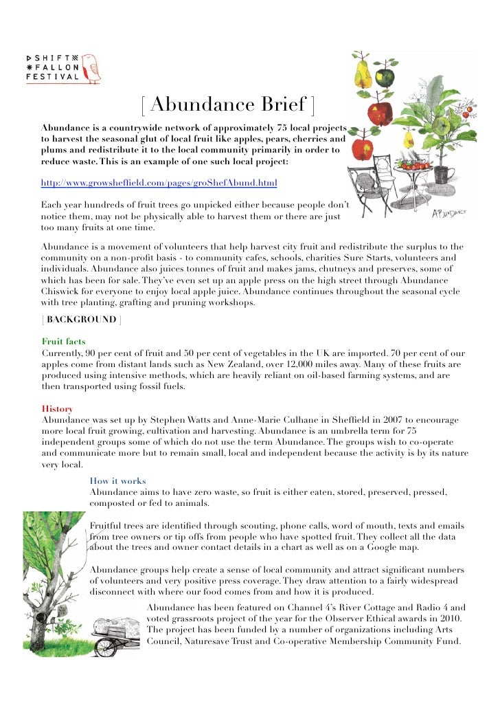 [ Abundance Brief ]Abundance is a countrywide network of approximately 75 local projectsto harvest the seasonal glut of lo...