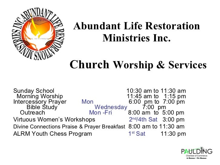 Abundant Life Restoration Ministries Inc Presentation