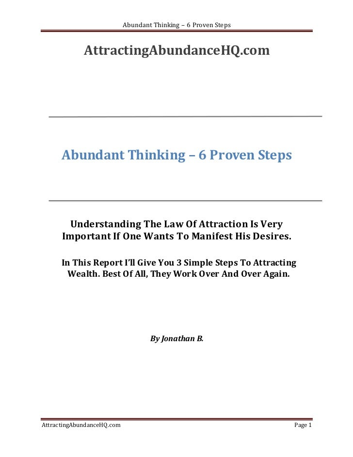 Abundant Thinking – 6 Proven Steps             AttractingAbundanceHQ.com      Abundant Thinking – 6 Proven Steps        Un...