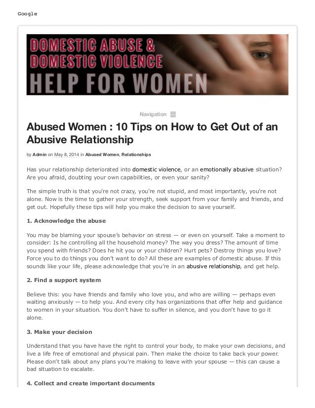 Google Navigation ² Abused Women : 10 Tips on How to Get Out of an Abusive Relationship by Admin on May 8, 2014 in Abused ...