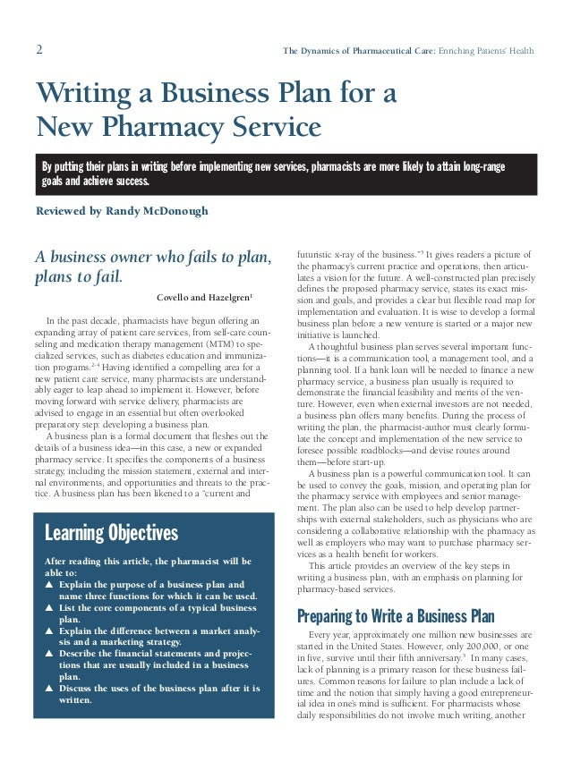 business plan ideas for pharmacy