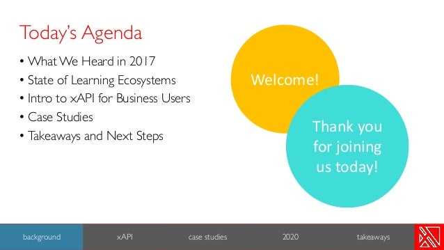 Today's Agenda • What We Heard in 2017 • State of Learning Ecosystems • Intro to xAPI for Business Users • Case Studies • ...
