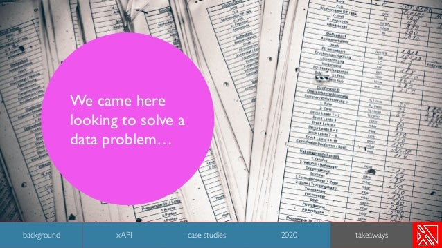 We came here looking to solve a data problem… 45 background case studies 2020 takeawaysxAPI