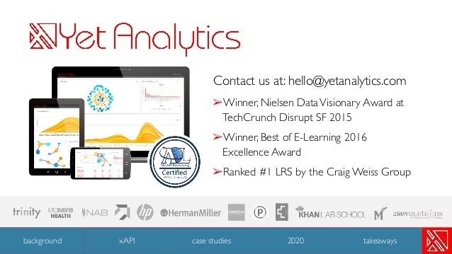 Contact us at: hello@yetanalytics.com ➢Winner, Nielsen DataVisionary Award at TechCrunch Disrupt SF 2015 ➢Winner, Best of ...