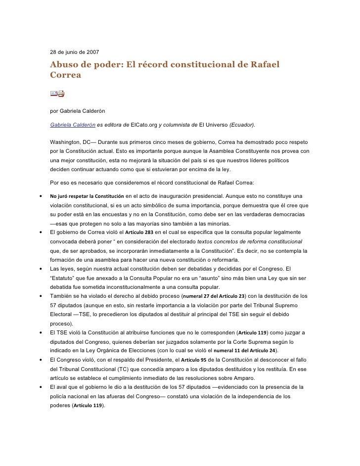 28 de junio de 2007      Abuso de poder: El récord constitucional de Rafael     Correa        por Gabriela Calderón      G...