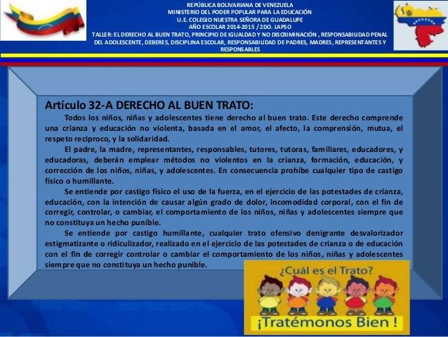 Artículo 32-A DERECHO AL BUEN TRATO: Todos los niños, niñas y adolescentes tiene derecho al buen trato. Este derecho compr...