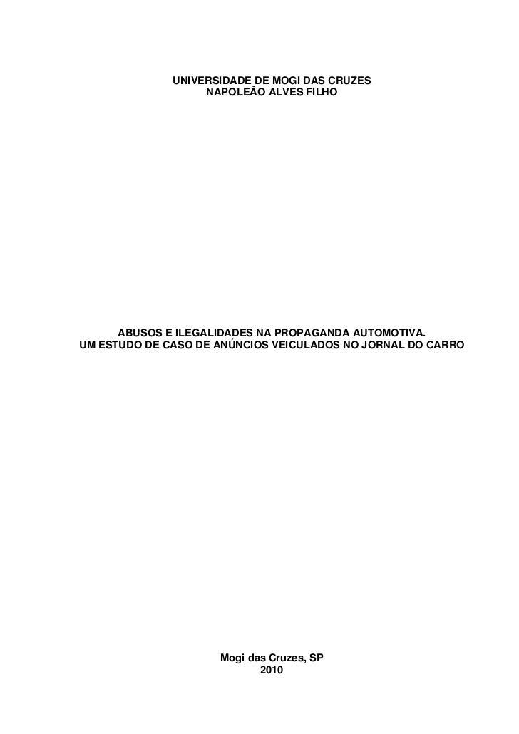UNIVERSIDADE DE MOGI DAS CRUZES                   NAPOLEÃO ALVES FILHO      ABUSOS E ILEGALIDADES NA PROPAGANDA AUTOMOTIVA...