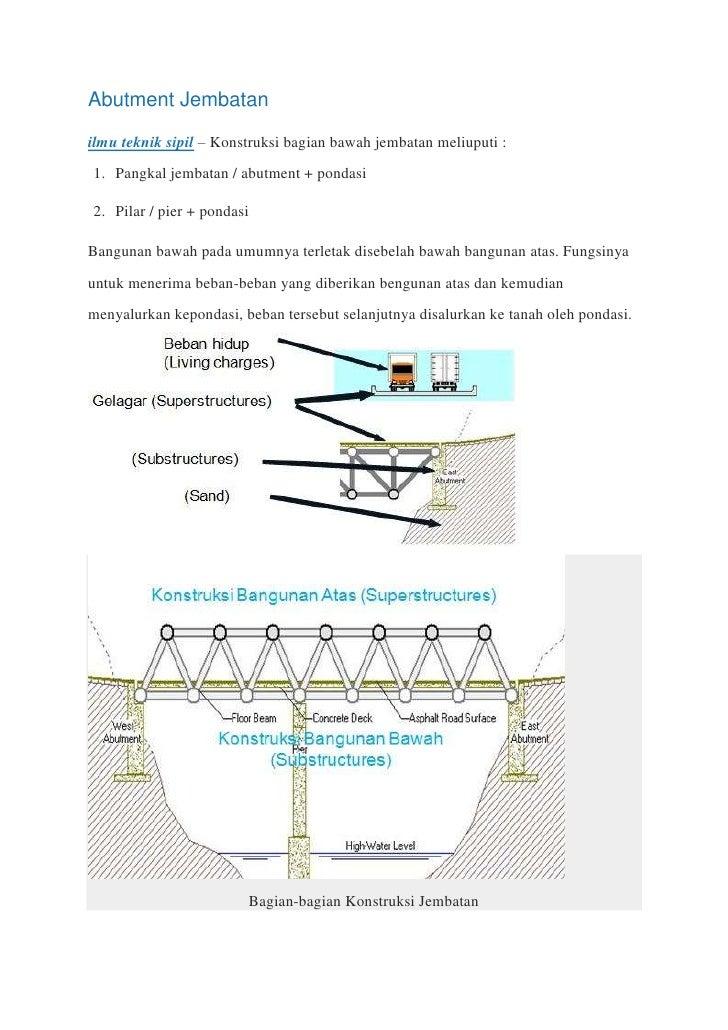 Abutment Jembatanilmu teknik sipil – Konstruksi bagian bawah jembatan meliuputi :1. Pangkal jembatan / abutment + pondasi2...