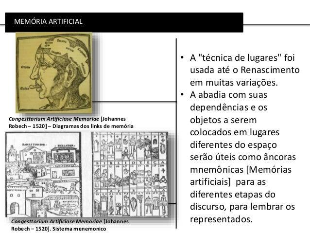 """MEMÓRIA ARTIFICIAL Congesttorium Artificiose Memoriae [Johannes Robech – 1520]. Sistema menemonico • A """"técnica de lugares..."""