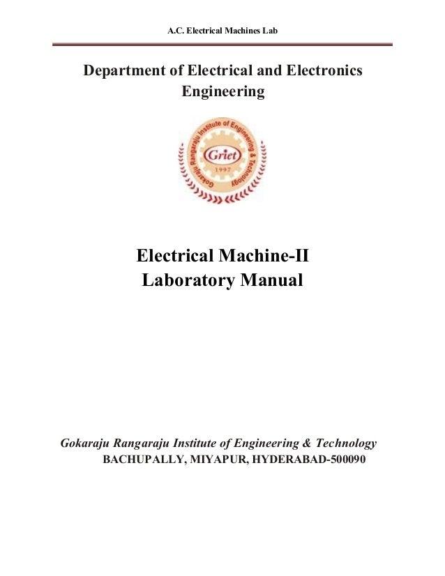 electrical machines 1lab manual by gokkaraju rangaaraju institute of technology