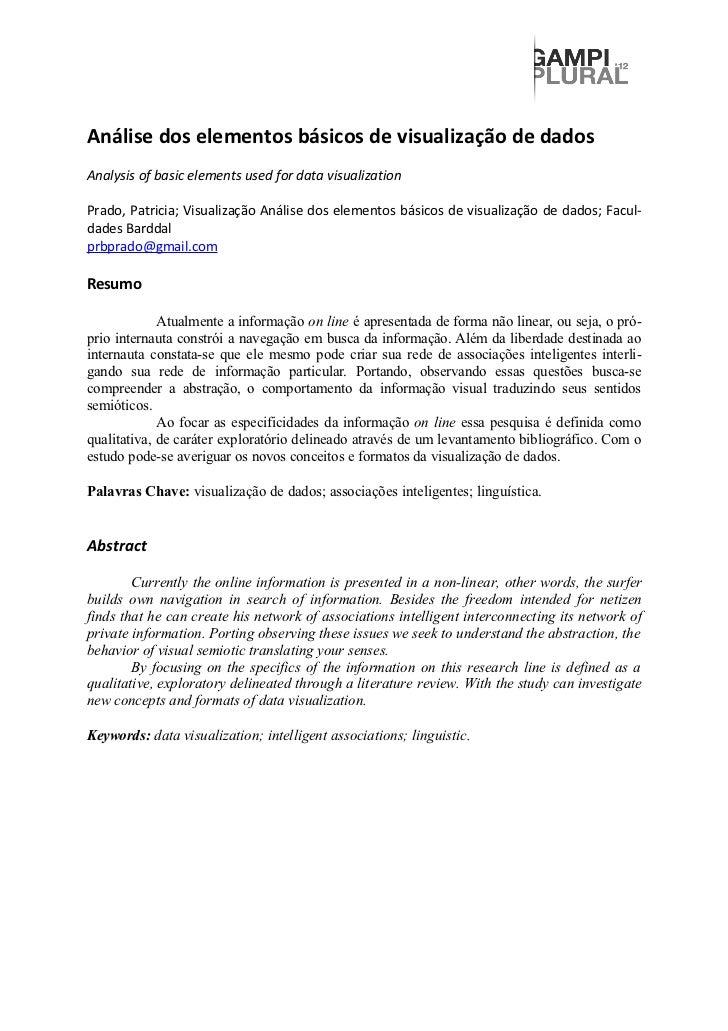Análise dos elementos básicos de visualização de dadosAnalysis of basic elements used for data visualizationPrado, Patrici...