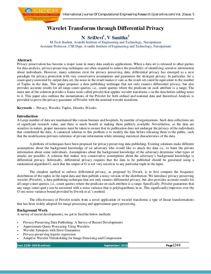International Journal Of Computational Engineering Research (ijceronline.com) Vol. 2Issue. 5                      Wavelet ...