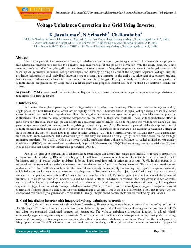 I nternational Journal Of Computational Engineering Research (ijceronline.com) Vol. 2 Issue. 8                 Voltage Unb...