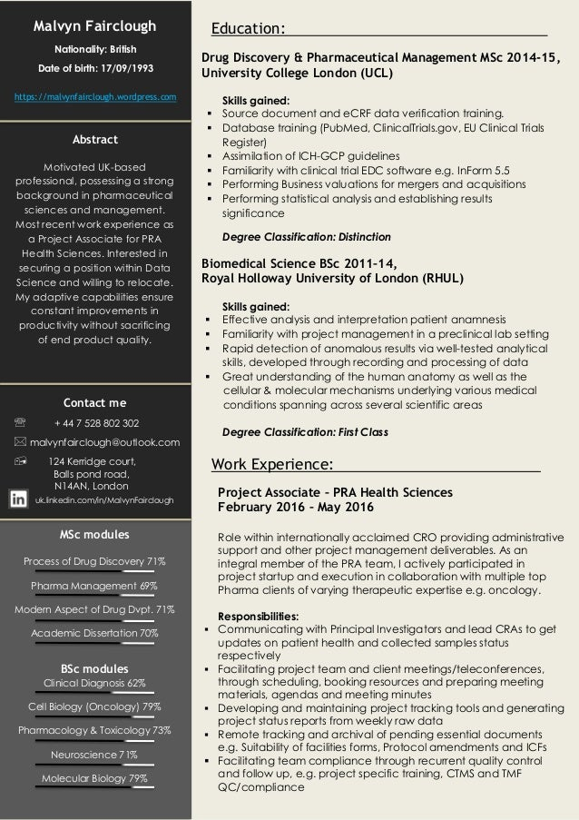 malvyn fairclough data science cv
