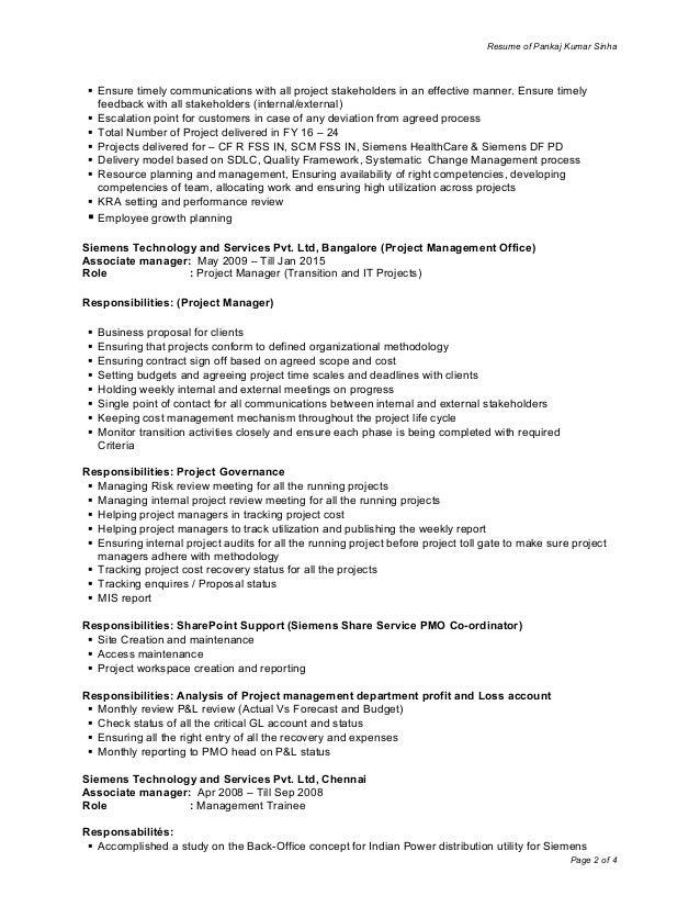 best pmo responsibilities resume photos simple resume office