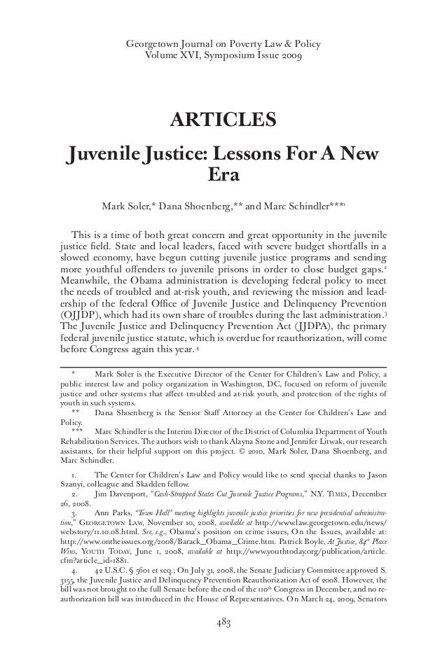 Final  Juvenile Justice  Lessons For A New Era Georgetown Journal On Poverty Law  Policy Volume Xvi Symposium Issue    Articles Juvenile  Mental Health Essay also Custom Writing Service  Thesis Statement For Essay