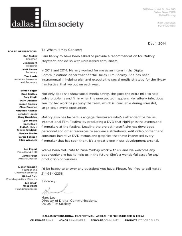 mallory recommendation letter dallas international film festival april 9 19 film is bigger in texas celebrate