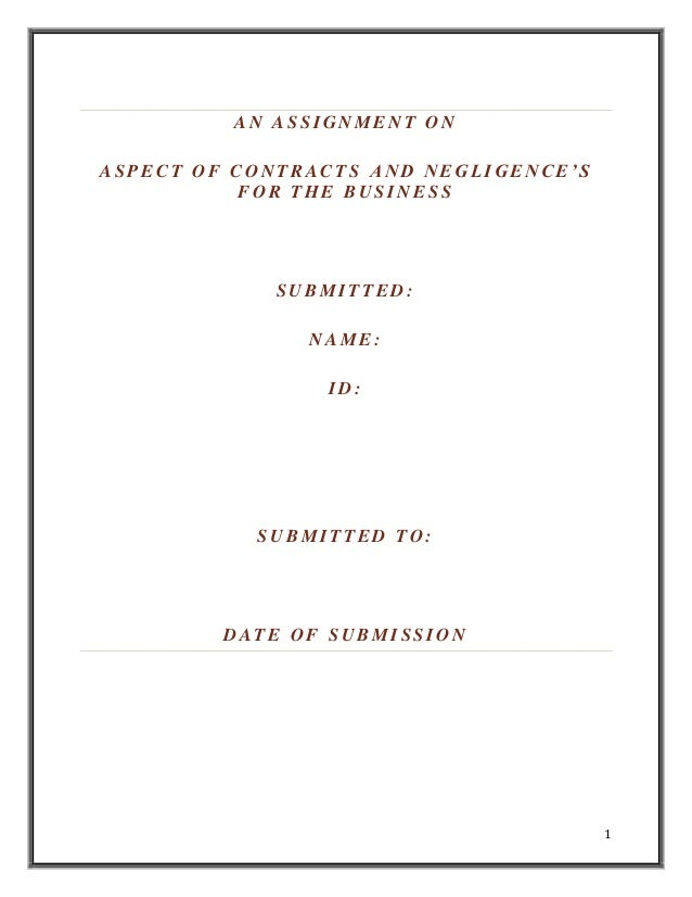 Aspects of Contract and Negligence of Business