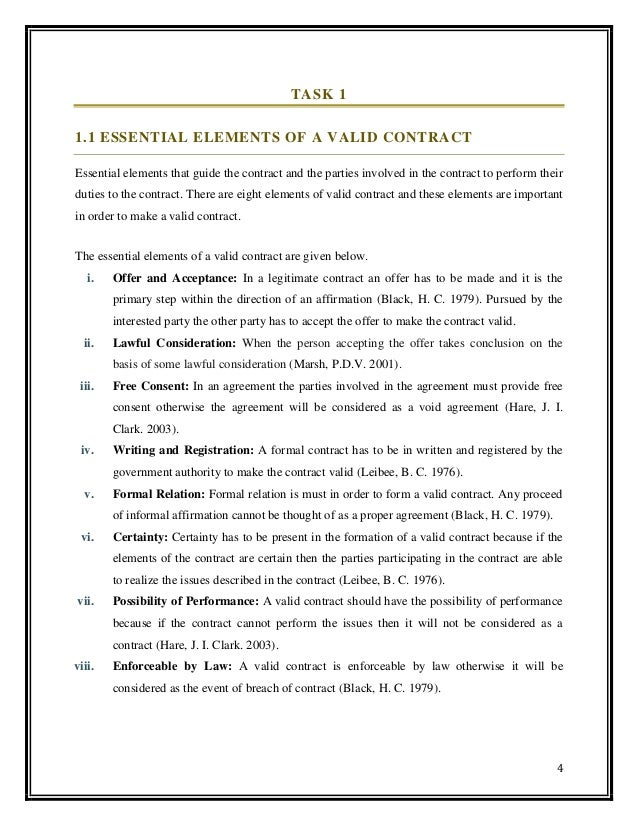 essential elements of a valid contract in business law pdf