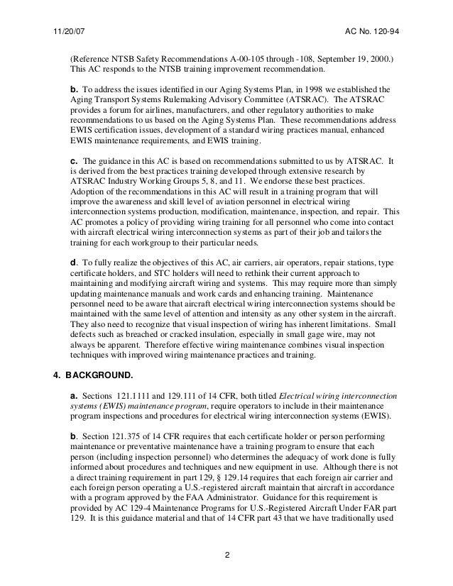 FAA AC 120 94 advisory circular EWIS