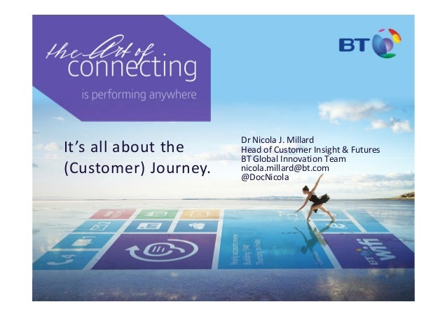 It's all about the (Customer) Journey. Dr Nicola J. Millard Head of Customer Insight & Futures BT Global Innovation Team n...