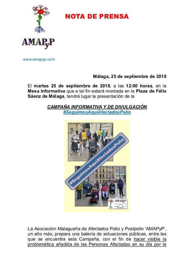 NOTA DE PRENSA www.amapyp.com Málaga, 25 de septiembre de 2018 El martes 25 de septiembre de 2018, a las 12:00 horas, en l...