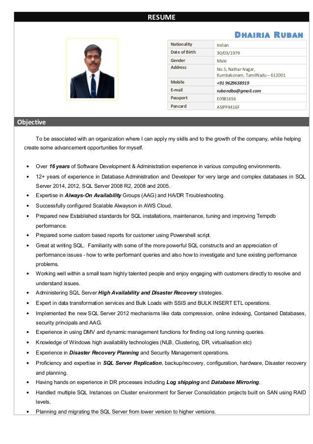 ruban sql dba resume