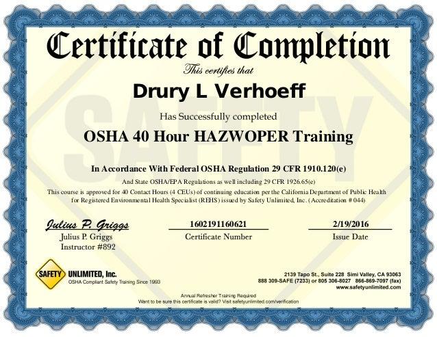 40 hour hazwoper certificate